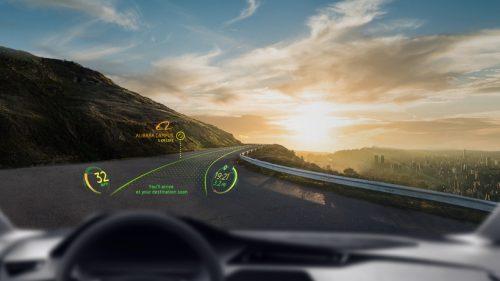 Affichage en réalité augmentée sur un pare-brise de voiture